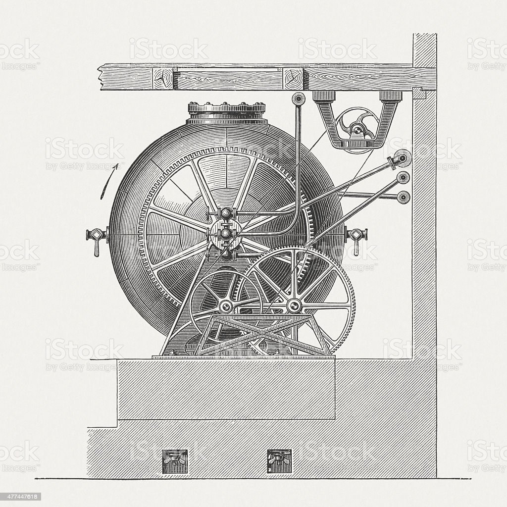 Spherical digester for pulp, wood engraving, published in 1877 vector art illustration