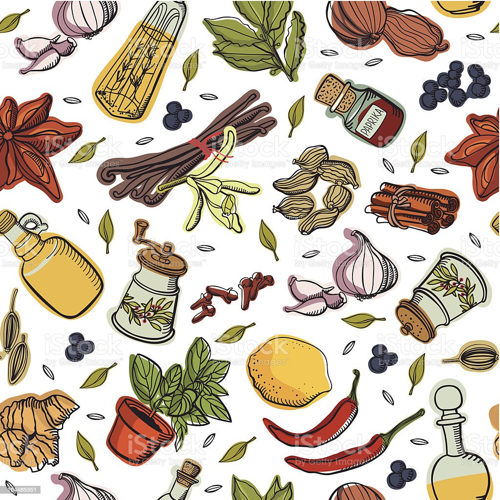 Spices kitchen pattern royalty-free stock vector art