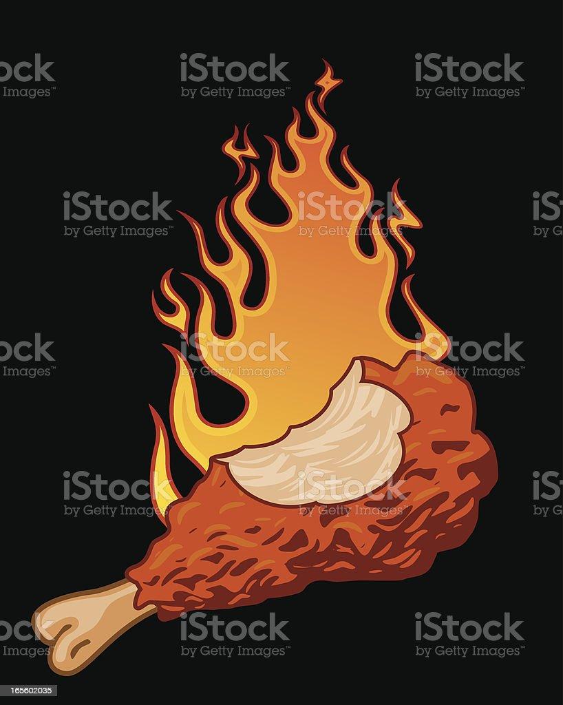 spicy chicken vector art illustration