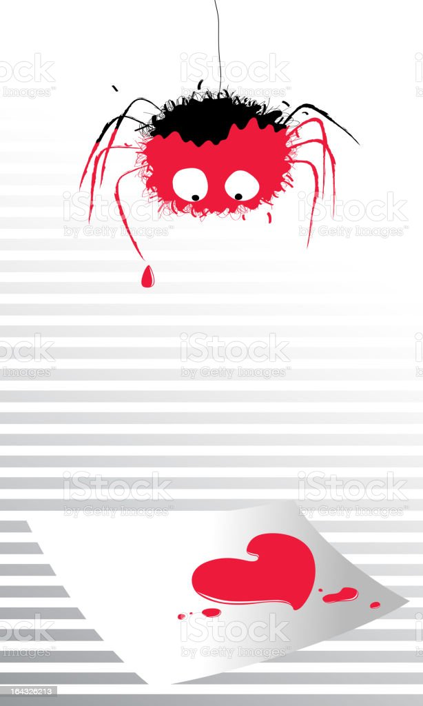spider above love letter royalty-free stock vector art