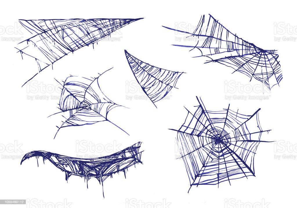 Orumcek Agi Elle Cizilmis Sulu Boya Seti Stok Vektor Sanati