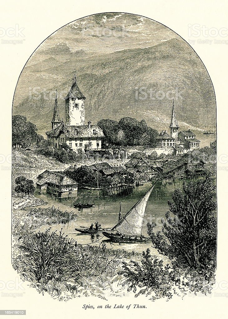 Spiez, Switzerland I Antique European Illustrations royalty-free stock vector art