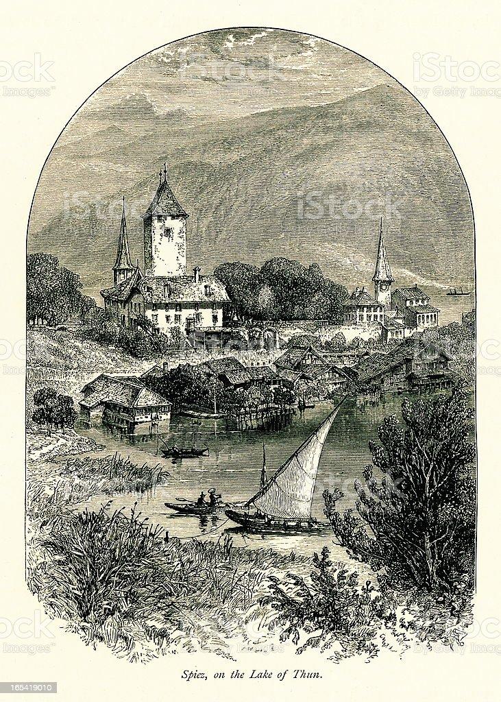 Spiez, Switzerland I Antique European Illustrations vector art illustration