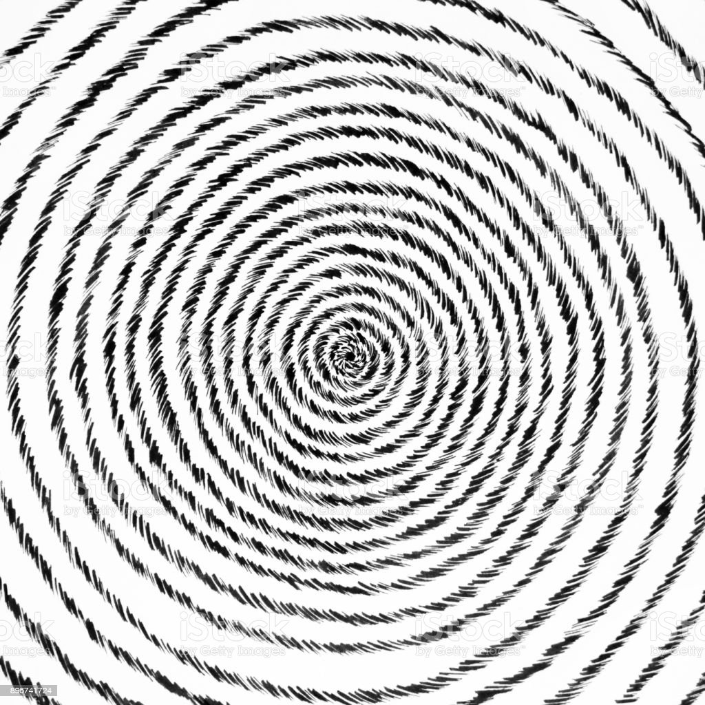 スパイラル デザイン手紙イラストを描いているペン ブラック ホワイト