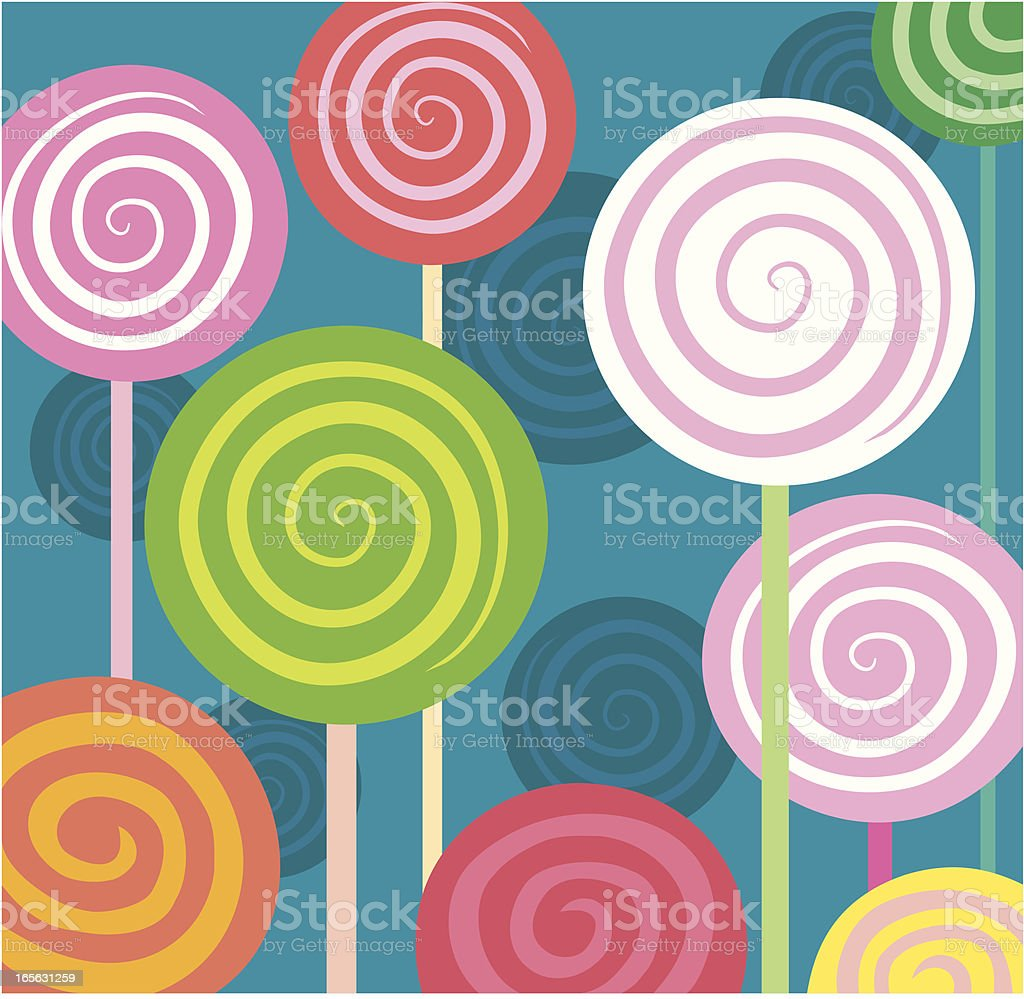 Spiral Lollipops in square royalty-free stock vector art
