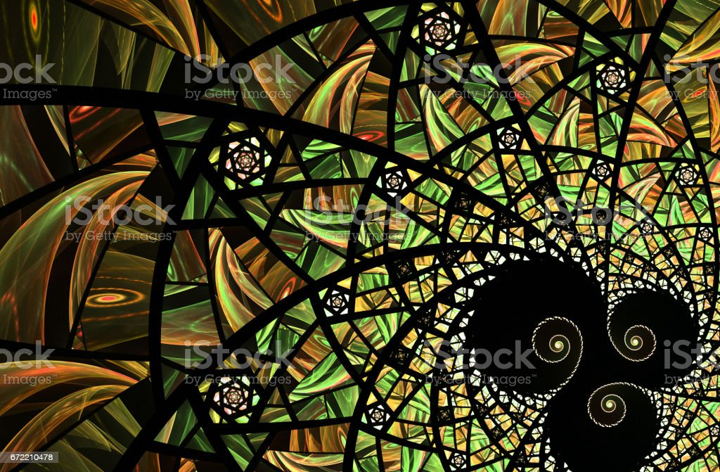 Spiral yello and green mosaic fractal pattern vector art illustration