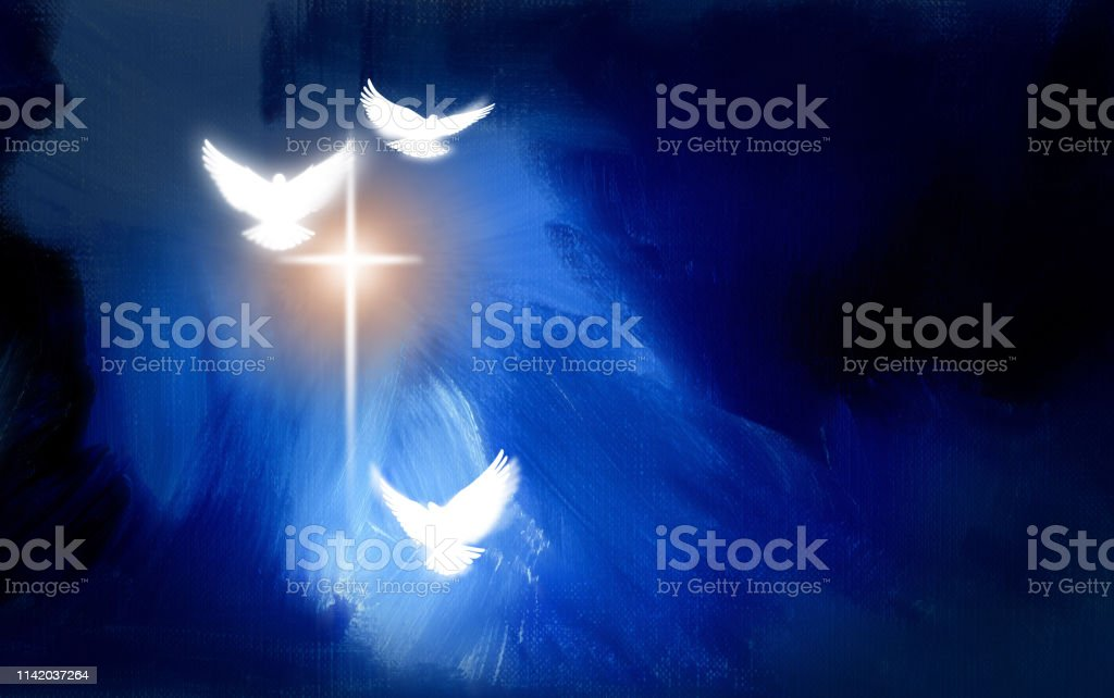 Conceptual graphic illustration of glowing Christian cross with three...