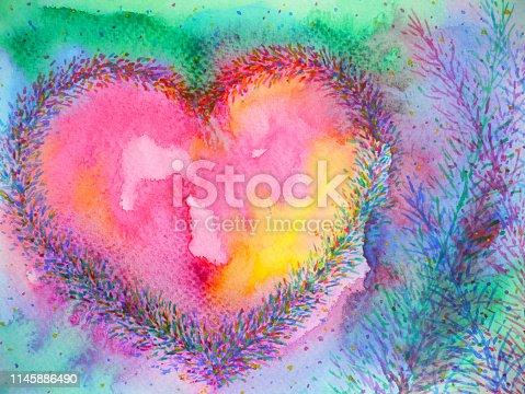 spiritual heart mind power mental floral watercolor painting illustration design