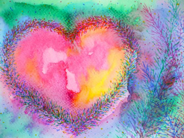 stockillustraties, clipart, cartoons en iconen met spirituele hartgeest macht mentale bloemen aquarel schilderij illustratie ontwerp - geestelijk welzijn