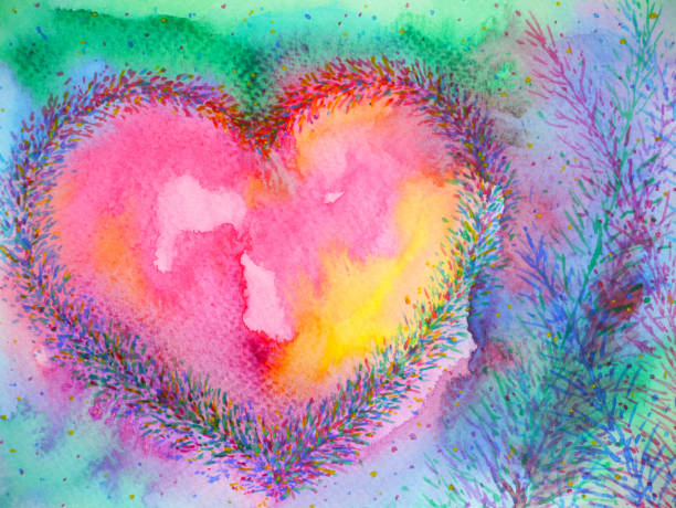 ilustrações de stock, clip art, desenhos animados e ícones de spiritual heart mind power mental floral watercolor painting illustration design - tranquilidade