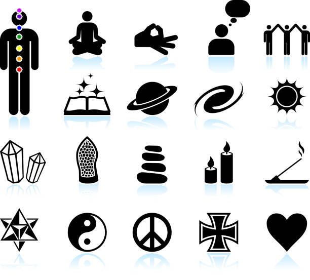 spirituality and new age black & white vector icon set spirituality and new age black & white icon set tranquil scene stock illustrations