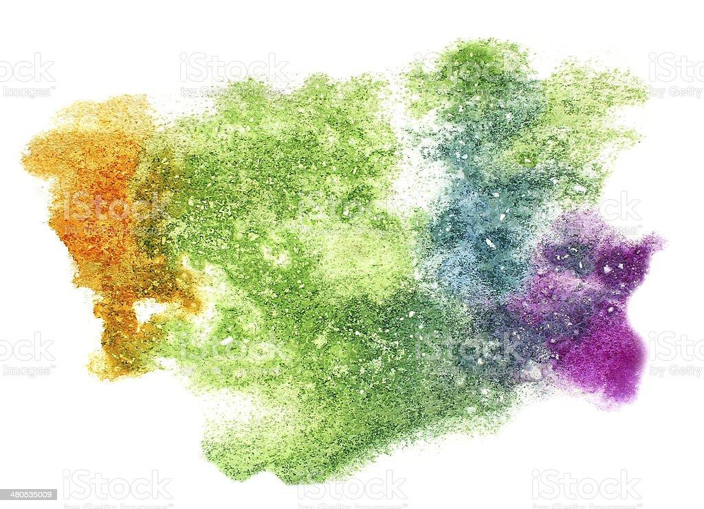 Splash Vert Jaune Violet Aquarelle Tache De Peinture De Couleur De ...