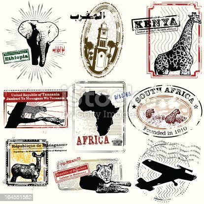 Stylized Retro Travel Stamps from Africa