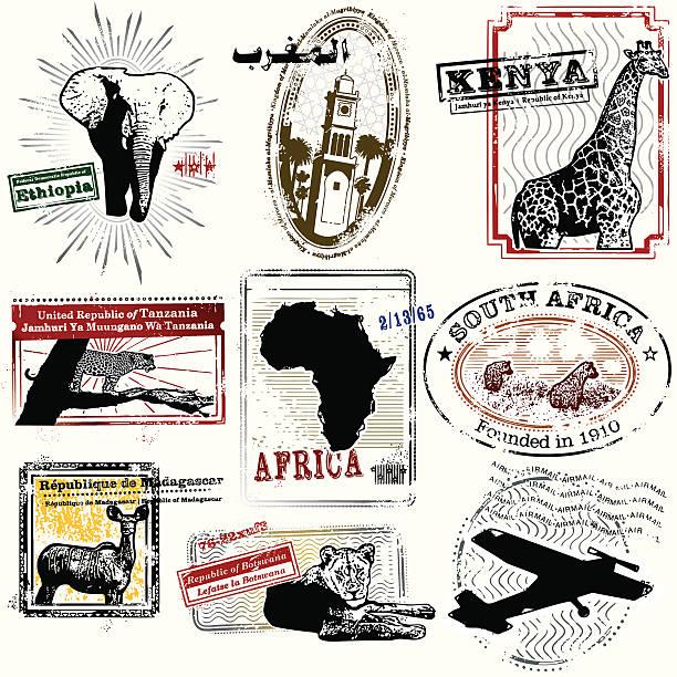 stockillustraties, clipart, cartoons en iconen met splendid african travel stamps - safari