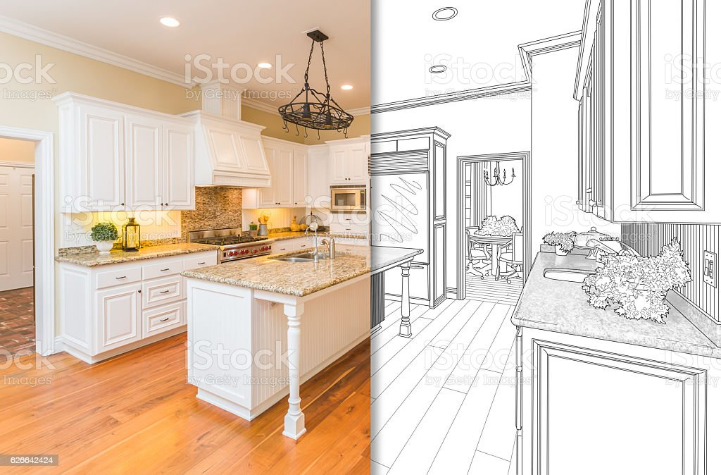 Split Screen Of Drawing and Photo of New Kitchen vector art illustration