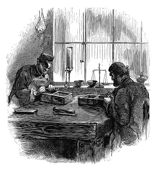 illustrazioni stock, clip art, cartoni animati e icone di tendenza di antico splitting (incisione) - uomo artigiano gioielli