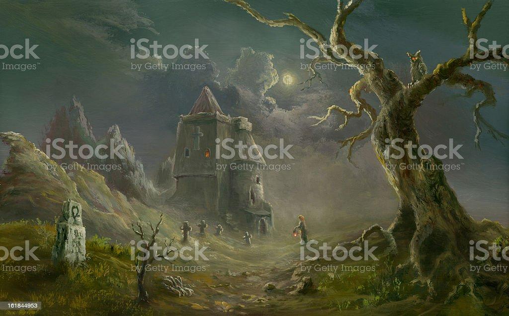 Spooky church vector art illustration