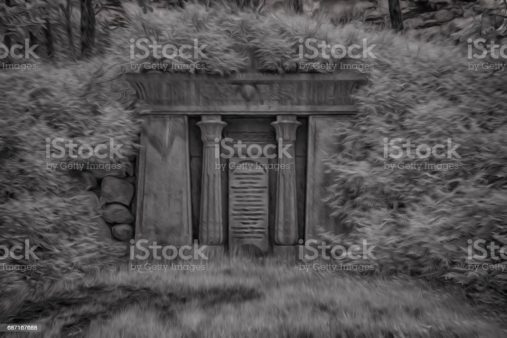 Spooky Grave Crypt At Night vector art illustration