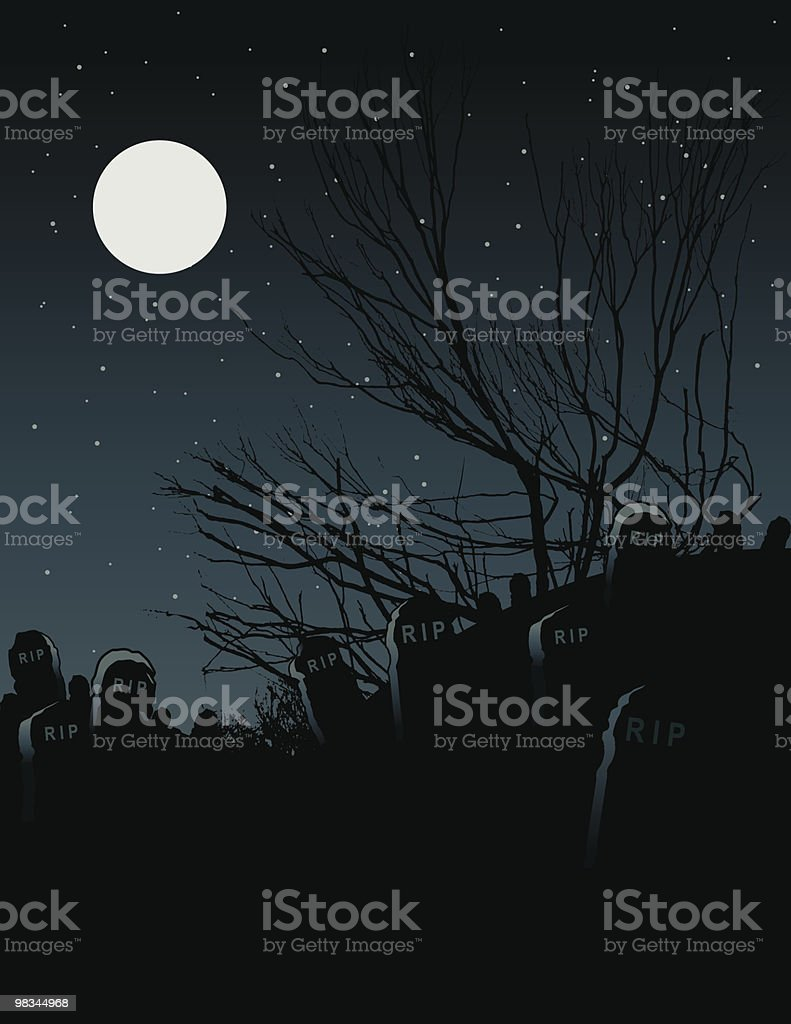 Spooky graveyard royalty-free spooky graveyard stock vector art & more images of bare tree