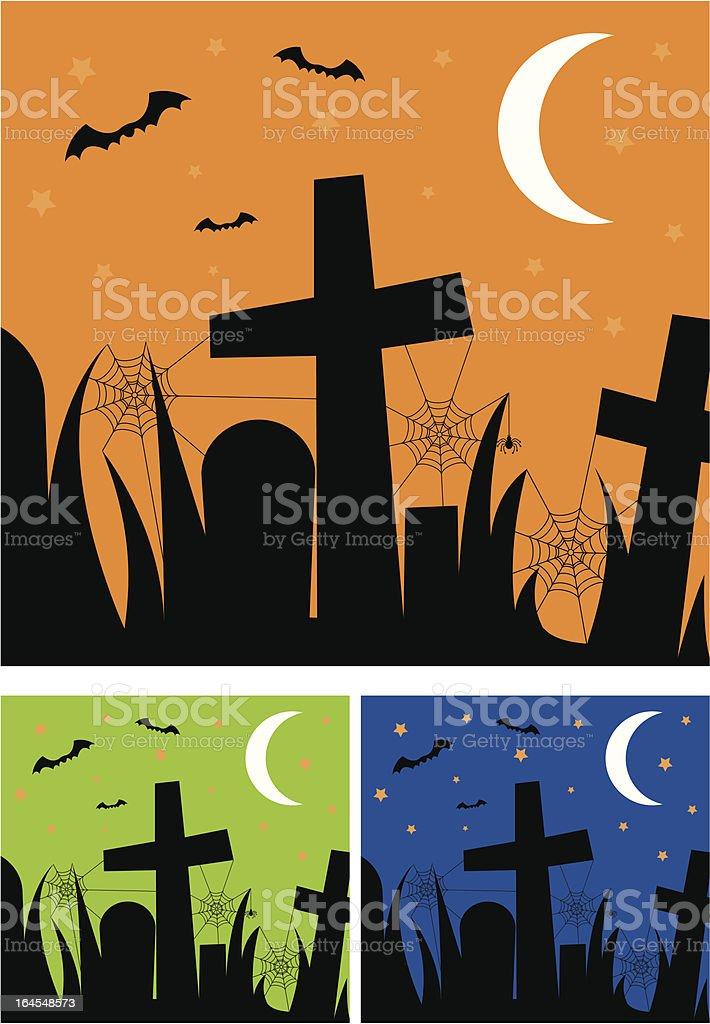 Spooky Halloween Graveyard Scene royalty-free stock vector art