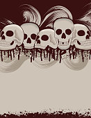 A blank Halloween flyer with skulls and blood stains. Extra folder includes Illustrator CS2 AI and PDF files.