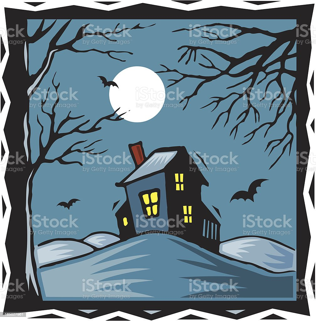 Spooky House vector art illustration