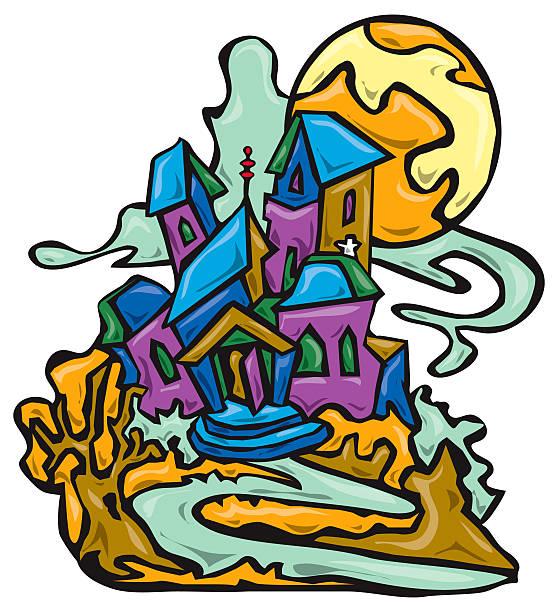 Spooky Moonlit Mansion vector art illustration