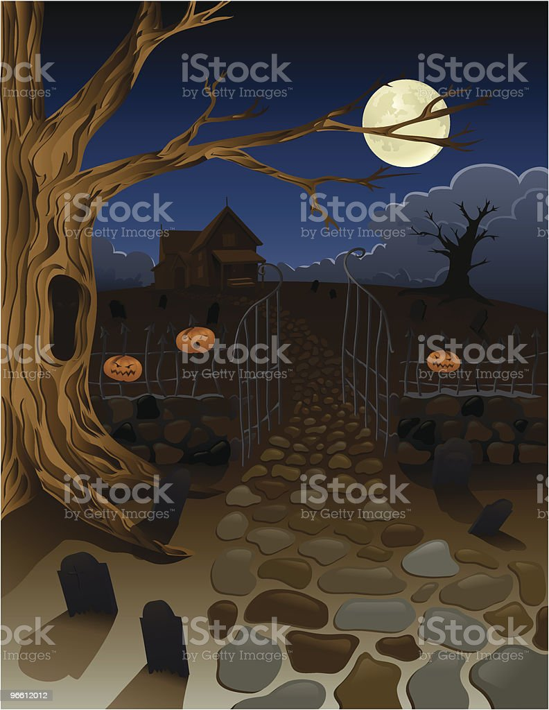 Spooky Old House with Pumpkins and Gravestones in Yard - Royalty-free Autumn stock vector