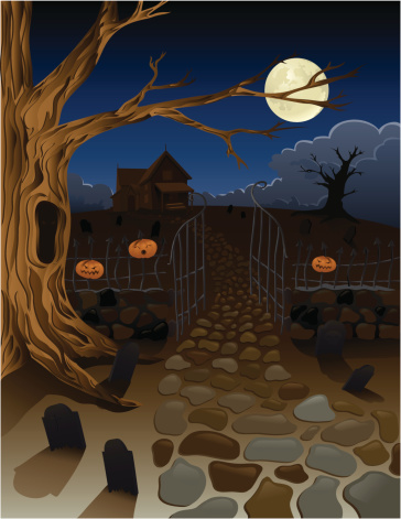 Spooky Old House With Pumpkins And Gravestones In Yard-vektorgrafik och fler bilder på Bus eller godis