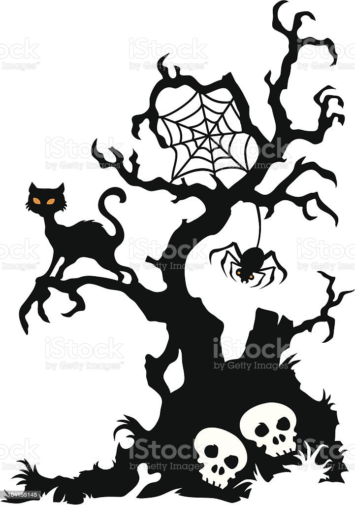 Spooky Tree With Cat And Spider Stock Vector Art Amp More
