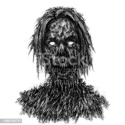 Spooky zombie woman face in horror genre. Illustration on white background.