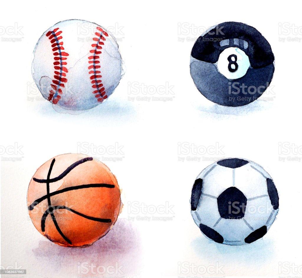 watercolor illustration of sports balls