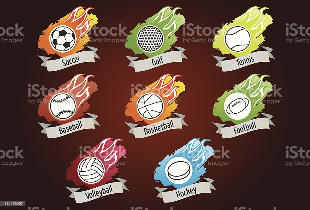 Sport icons: balls with flames royalty-free stock vector art