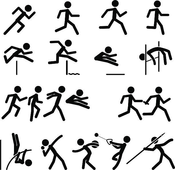 sport pictogram icon-set 02 track & field - leichtathletik stock-grafiken, -clipart, -cartoons und -symbole