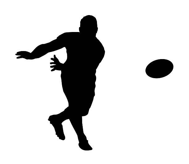 Silhueta de esporte-Rugby Football Backline Passe rápido - ilustração de arte em vetor