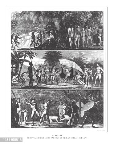 Sports and Duels of Various South American Indians Engraving Antique Illustration, Published 1851. Source: Original edition from my own archives. Copyright has expired on this artwork. Digitally restored.