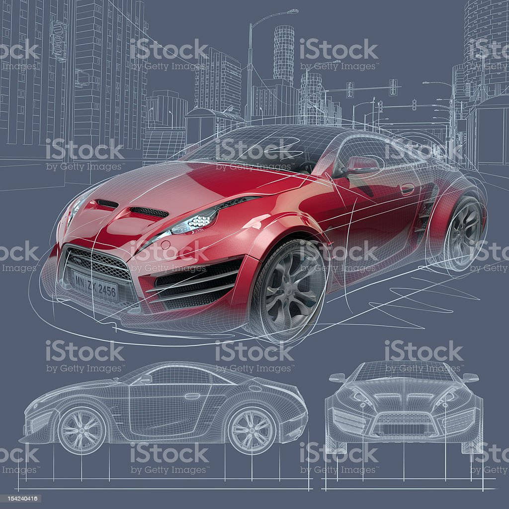 Sports Car Blueprint Stock Vector Art & More Images of Architecture ...
