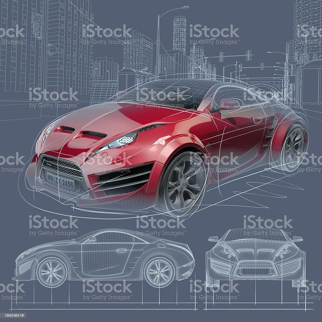 Sports car blueprint vector art illustration