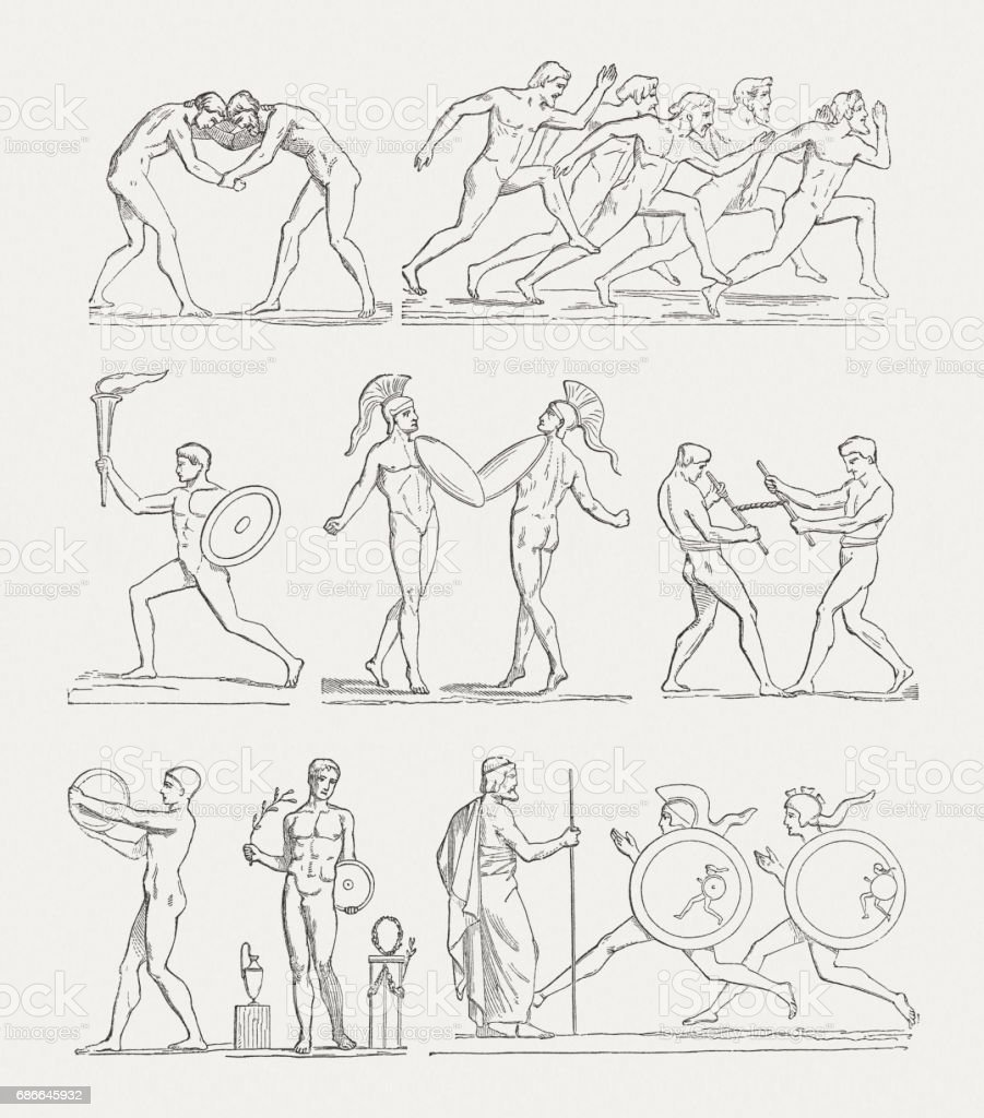 . Games of Antiquity, wood engravings, published in 1880 royalty-free games of antiquity wood engravings published in 1880 stock vector art & more images of ancient
