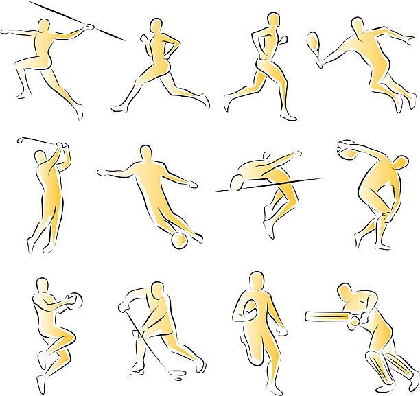 Sports Icons athletes vector art illustration