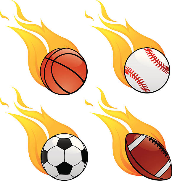 bildbanksillustrationer, clip art samt tecknat material och ikoner med sports on fire - fotboll eld