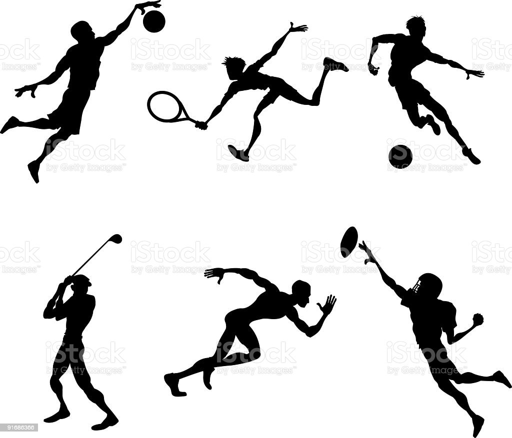 Sports players silhouettes vector art illustration