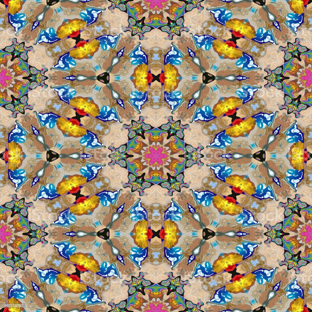Spot kaleidoscopic seamless generated hires texture or background vector art illustration
