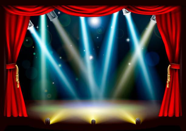 illustrazioni stock, clip art, cartoni animati e icone di tendenza di teatro spotlight theatre fase - sipario