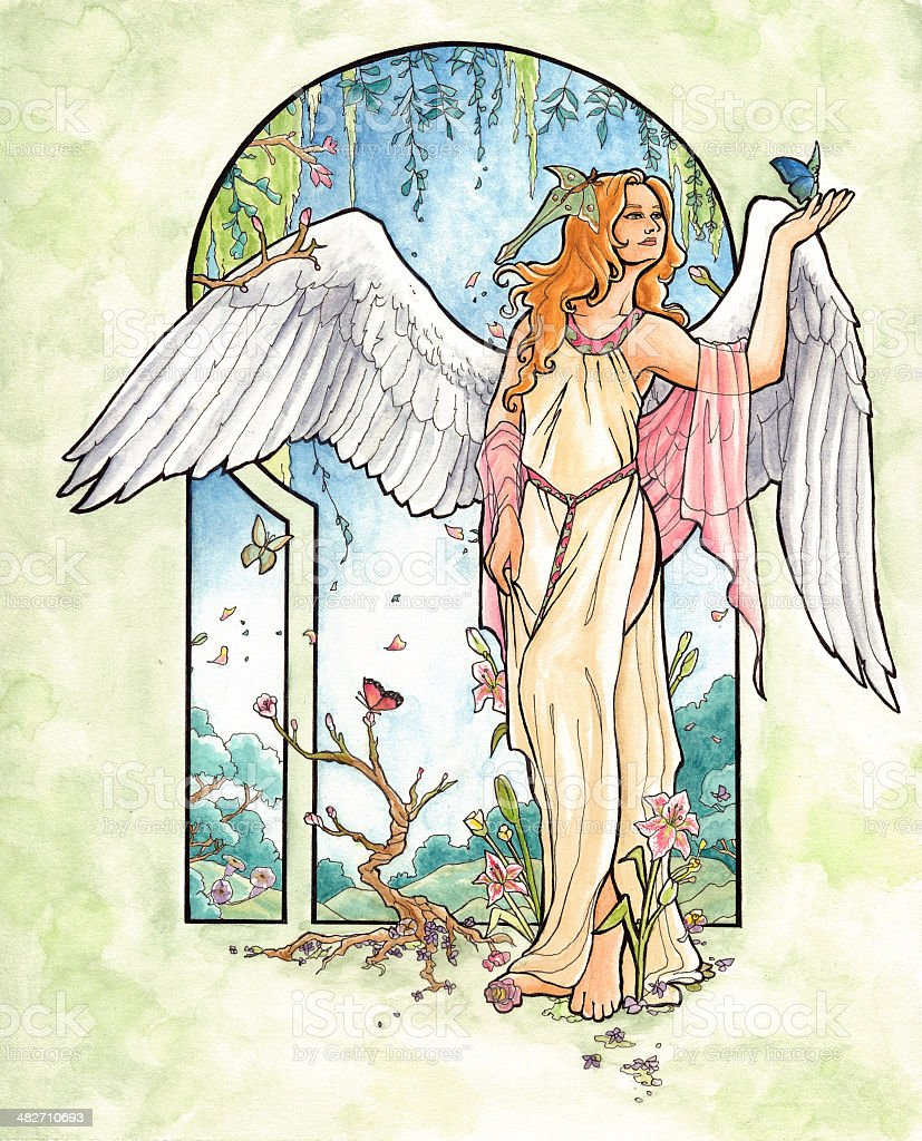 spring angel with butterflies and flowers in art nouveau style