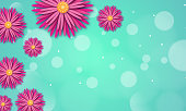istock Spring background with paper flowers on a blue background and bokeh effect. Vector illustration with place for your text. Design for promotions, magazines, advertising, web sites. 1299257692