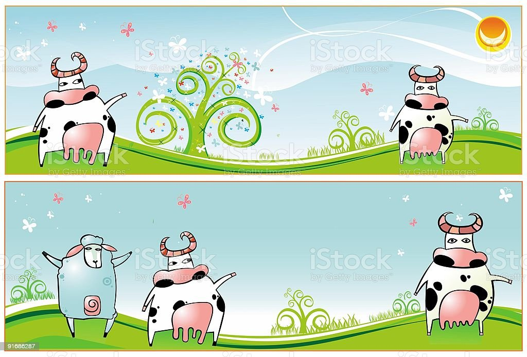 Spring  banners with  Cows and sheep royalty-free spring banners with cows and sheep stock vector art & more images of animal