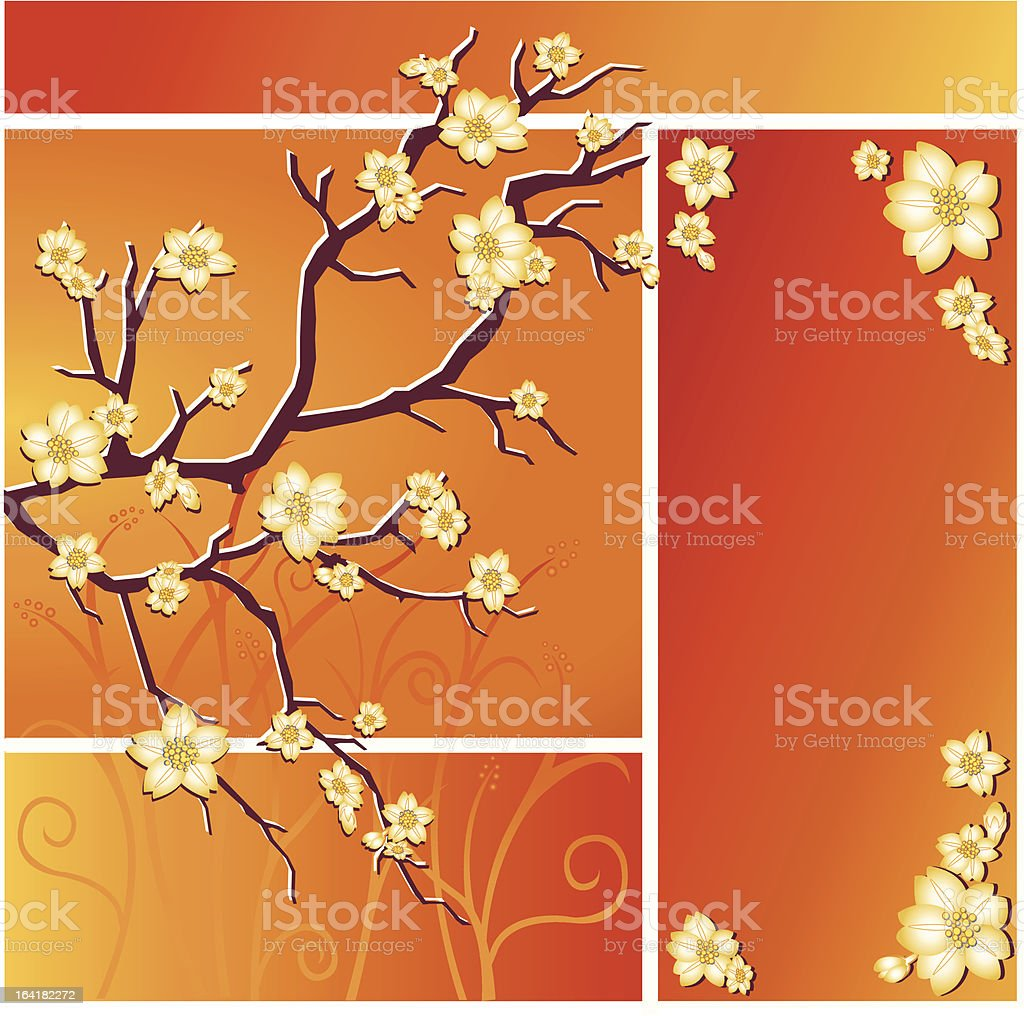 spring blossoms in orange royalty-free stock vector art