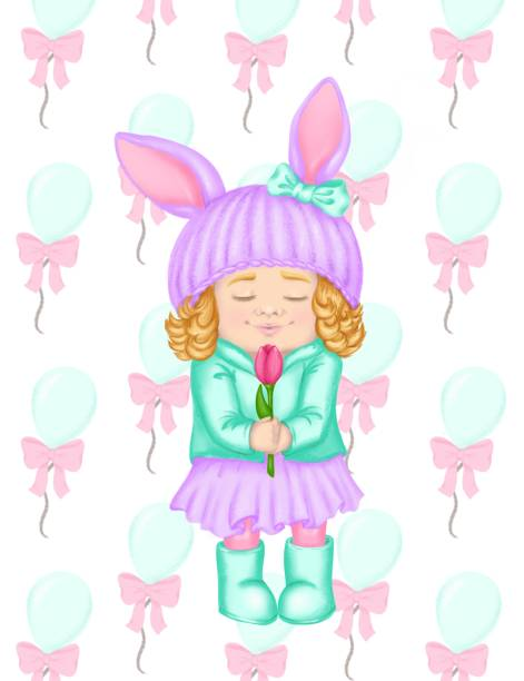 spring clip art cartoon girl in hat with ears and curly hair like bunny or rabbit for spring greeting card, seasonal promo banner, nursery, fashion print, baby club or children event poster isolated - spring fashion stock illustrations, clip art, cartoons, & icons