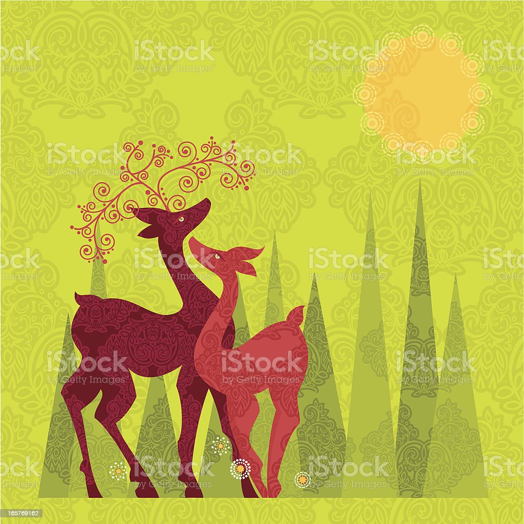 Spring Deer Couple royalty-free stock vector art